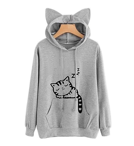 JLTPH Mujer Gato Sudaderas con Capucha Tumblr Manga Larga Moda Animales Cosplay Blusa Tops Jersey Pullover Outwear: Amazon.es: Ropa y accesorios