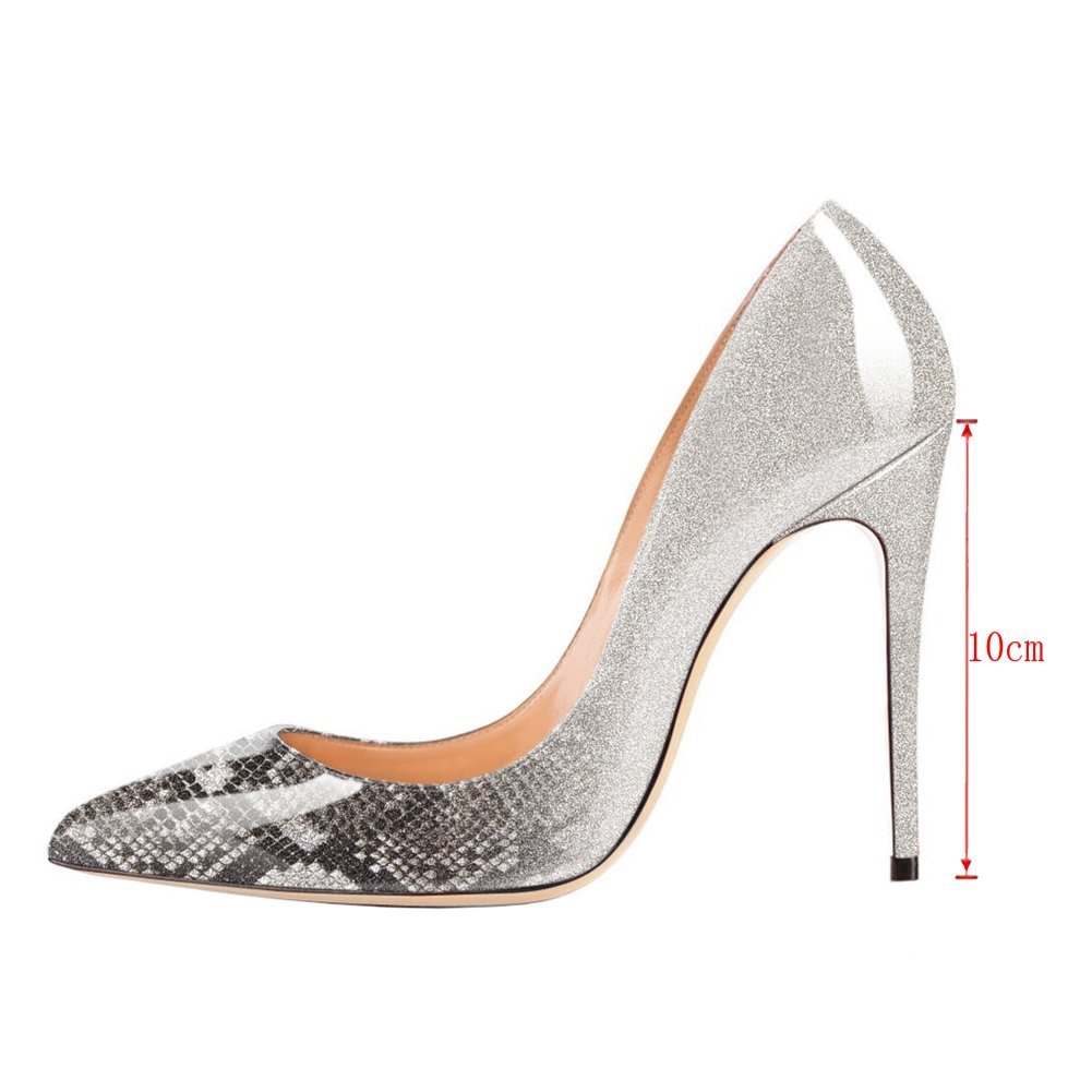 VOCOSI Pointy Toe Pumps for Women,Patent Gradient Animal Print High Heels Usual Dress Shoes B077P2BVC1 7 B(M) US Gradient Grey to Snake Print With 10cm Heel Height