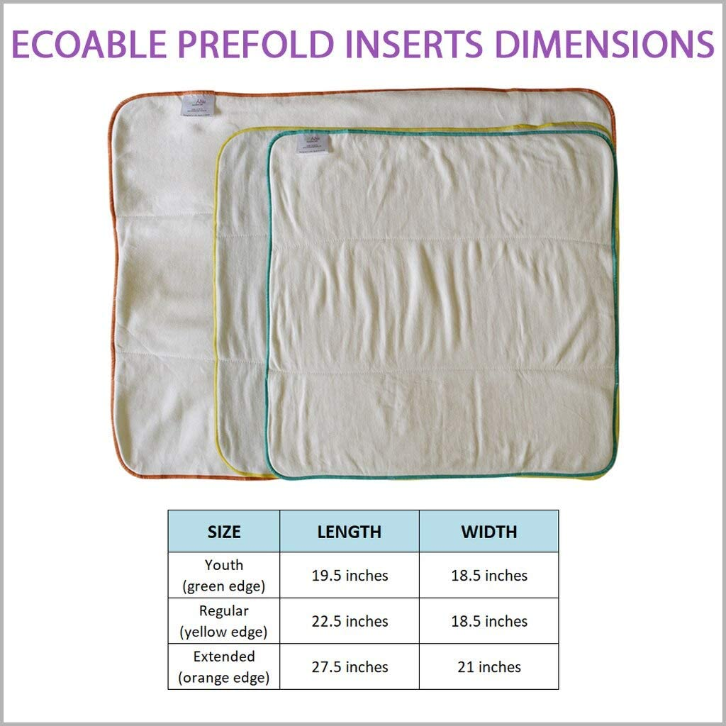 Teen Prefold Cloth Diaper Insert Bamboo Prefold ONLY, Youth Reusable /& Washable for Special Needs Incontinence 1-Pack