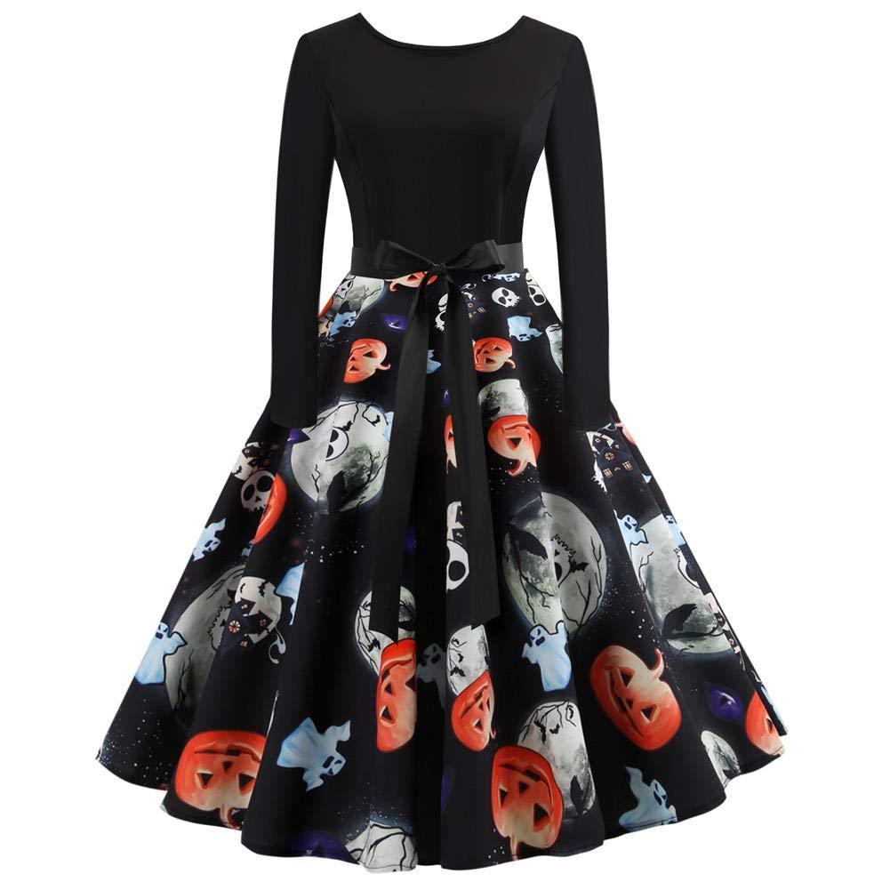 Alian Women's Halloween Dress Pumpkin Vintage Printing Long Sleeve Flare Dress