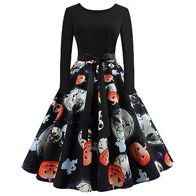 0d070520ed5250 Damen Halloween Kleid Vintage Retro A-Linie Elegant Lange Ärmel Kürbis  Printed Skater Kleider Halloween