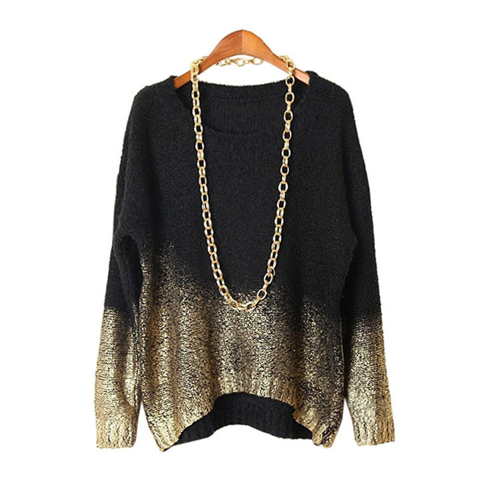 WELVT Women's Bronzing Knitted Sweater Loose Batwing Long Sleeve Pullover Blouse Black Gold