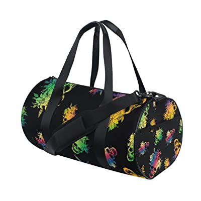 Gym Sports Bag Colorful Floral Skull Travel Duffel Bag for Men and Women