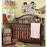 7 Piece Baby Girls Black White Green Zebra Print Crib Bedding Set, Newborn Animal Themed Nursery Bed Set Infant Child Striped Pattern Cute Adorable Blanket Comforter, Cotton Polyester