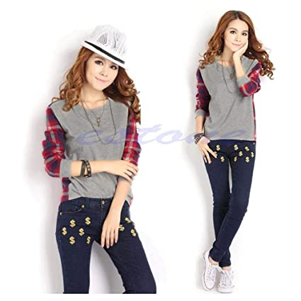 463eb2cc84ef FidgetGear Womens Long Sleeve Round Neck Plaid Checked Casual Loose T-Shirt  Blouse Tops Asian L: Amazon.in: Home & Kitchen