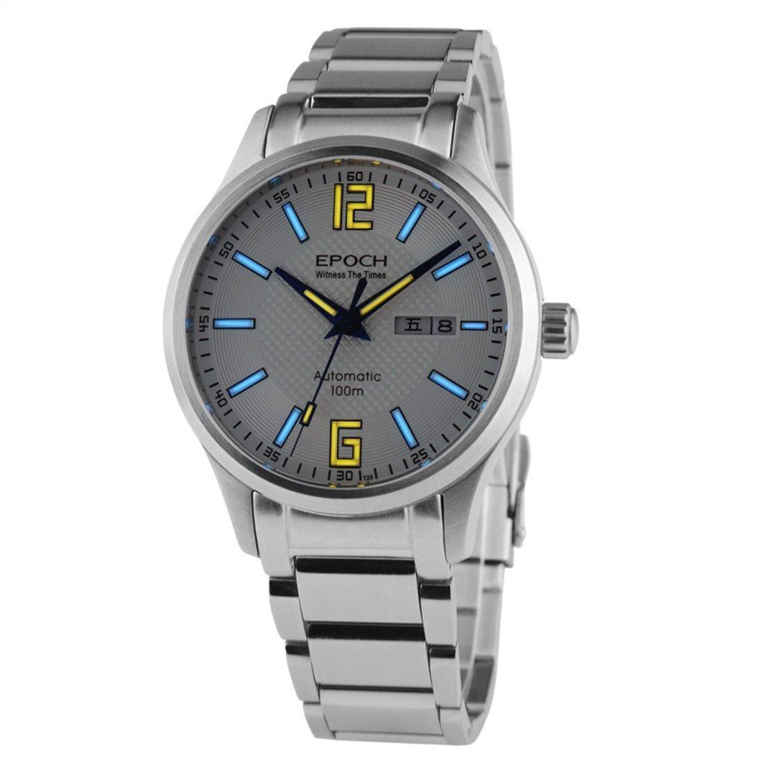 EPOCH 7012G steel strap waterproof 100m tritium gas luminous white dial steel strap mens business automatic mechanical watch