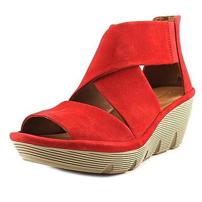 08c00d963822 CLARKS Women s Clarene Glamour Red Nubuck Sandal