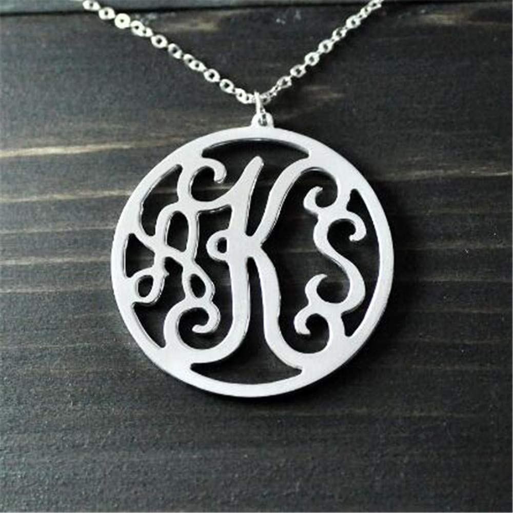 Custom Initials Name Necklace Customized Charm Pendant Super color Round Monogram Necklace Personalized