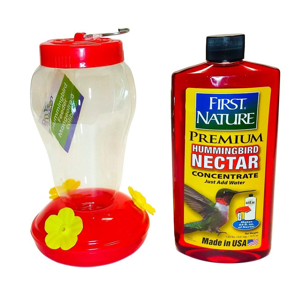 Red Hummingbird Nectar and Hummingbird Feeder Child Friendly Summer Bundle Kit