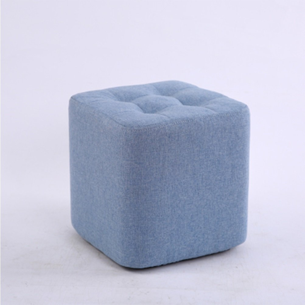 FORWIN US stool- Stool Cubes Solid Wood Fabric Blue Shoes Stool Fashion Small Sofa Stool Coffee Table Stool Home Children's Bench 29 X 29 X 29 CM stool (Color : Blue)
