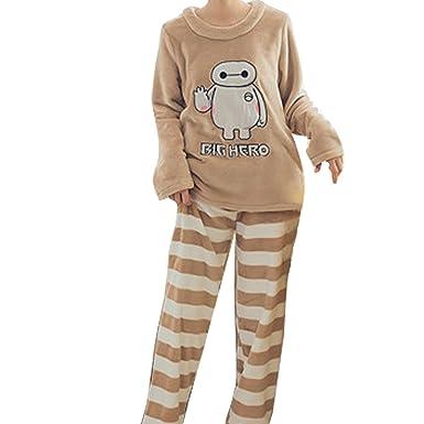 bee7ed2a64 Women ladies winter fleece pyjamas set long sleeve sleepsuit nightwear  lounge suit cartoon animal print pyjamas  Amazon.co.uk  Clothing