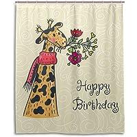 Mydaily Happy Birthday Giraffe Flower Shower Curtain 60 x 72 Inch, Mildew Resistant & Waterproof Polyester Decoration…