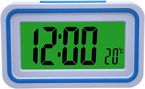 Spanish Talking LCD Digital Alarm Clock with Thermometer, Back lit, for Blind or Low Vision, 4 colors White and Blue