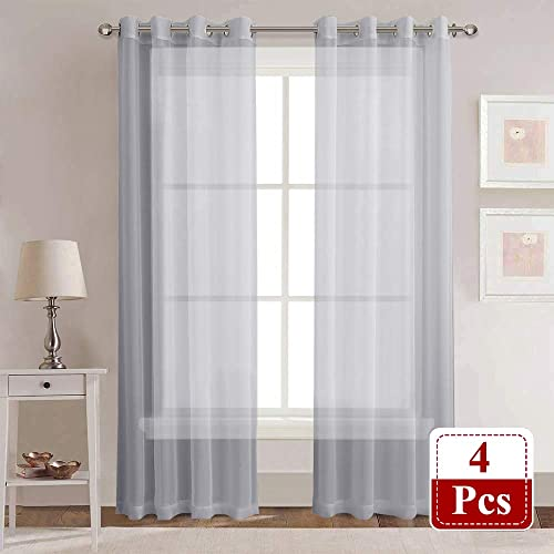 Farmhouse Curtains Sheer Panels – Privacy Home Decorating Drapes for Boys Bedroom Senior Teen Kids Room Window Decor, Set of 4, 54-inch Wide x 95-inch Long per Panel, Grey