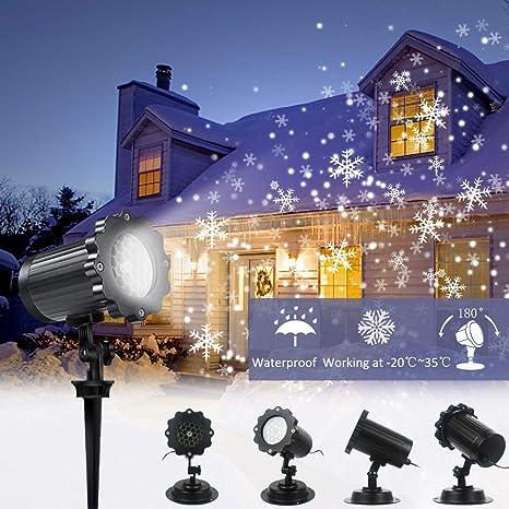 Proiettore Luci Natalizie Per Esterno Negozio.Proiettore Luci Led Natale Neve Floodlight Luci Natale Esterno Impermeabile Faretto Rotante A Forma Di Nevicata Per Natale San Valentino