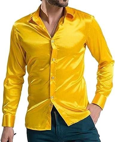 hibote La Camisa Brillante de la Manera de los Hombres ocasiona el Color sólido de la