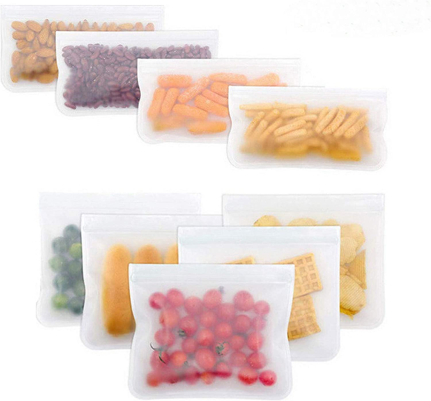 Reusable Storage Bags,5 Pic large size 11.2 x 10.2 inch BPA Free PEVA Resuable Freezer Bags,Reusable Gallon Bags, Reusable Sandwish Bags, Silicone Food Bags