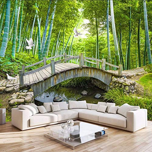 RTFC Small Bridges Custom Photo Wallpaper 3D Bamboo Forest Landscape Painting Wall Decoration Living Room Bedroom Wallpaper Mural 3D-400X280Cm