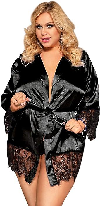 Details about  /Women Night Robe Kimono Satin Silk Short Robe Dress Lingerie Sleepwear Plus Size