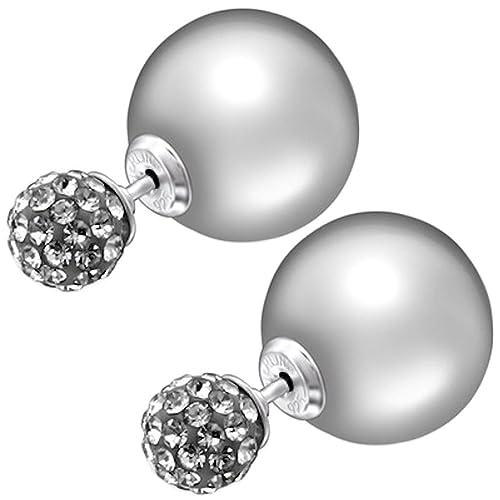 le più votate più recenti nuovo aspetto materiali di alta qualità So chic gioielli – 925 in argento Sterling con doppia sfera orecchini a  perno con perle e cristalli