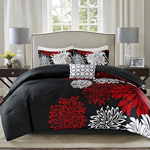 Comfort Spaces – Enya Comforter Set - 5 Piece – Black, Red – Floral Printed – Full/Queen size, includes 1 Comforter, 2 Shams, 1 Decorative Pillow, 1 Bed Skirt - bedroomdesign.us