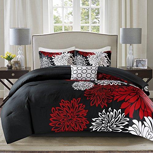 Comfort Spaces Enya Comforter Set-Modern Floral Design All Season Down Alternative Bedding, Matching Shams, Bedskirt…