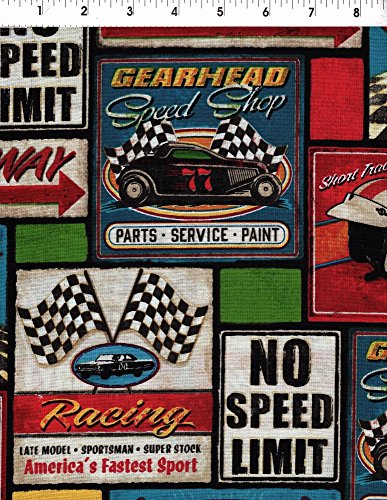 (Kaufman Victory Lane Racing Sign Patchwork Fabric)
