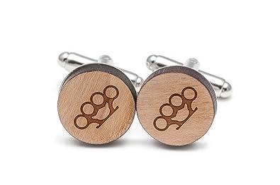 Amazoncom Wooden Accessories Company Brass Knuckle Cufflinks Wood