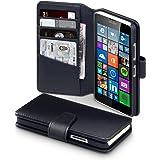 Microsoft Lumia 640 Case, Terrapin [ECHT LEDER] Brieftasche Case Hülle mit Kartenfächer und Bargeld für Microsoft Lumia 640 Hülle Schwarz