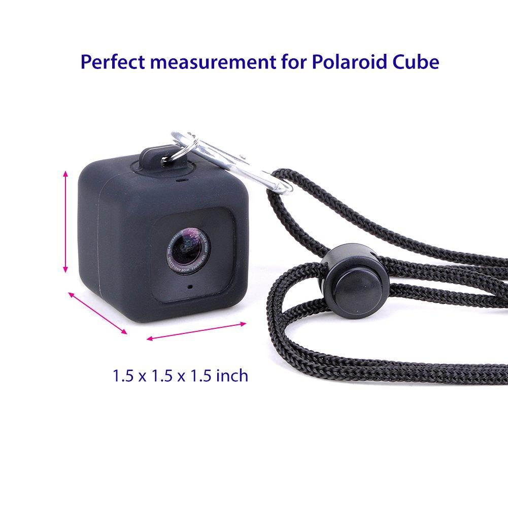 Polaroid Cube HD Carcasa Colgante – Minisuit para Polaroid Cube HD, con collar de cuerda de seguridad y mosquetón, Rojo