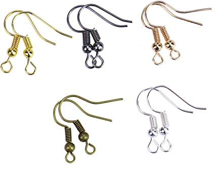 20 Hypoallergenic Earring Hooks Ball Coil Wires Silver//Gold//Bronze Mixed in one