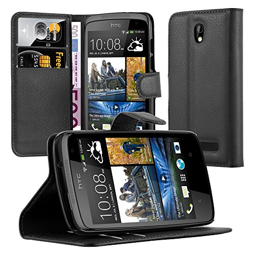 Cadorabo Book Case Works with HTC Desire 510 in Oxid Black - with Magnetic Closure, Stand Function and Card Slot - Wallet Etui Cover Pouch PU Leather Flip
