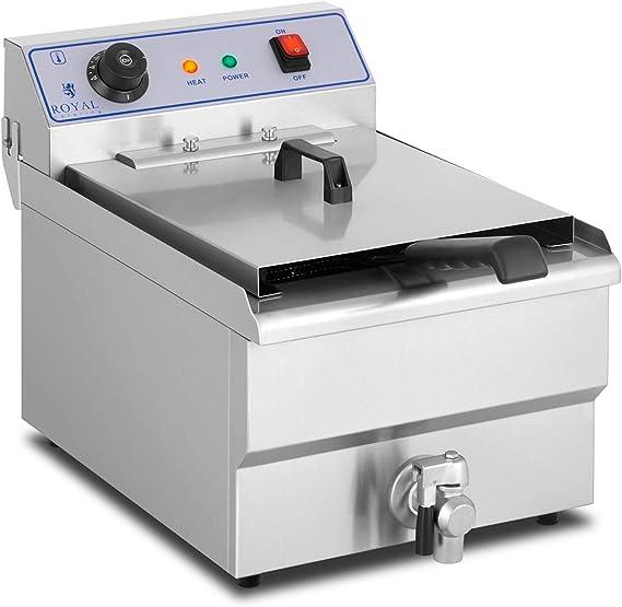 Royal Catering Freidora Industrial Eléctrica Profesional RCSF-16ETH (16 Litros, 6000 W, 400 V, Termostato, Grifo de vaciado, Acero Inoxidable): Amazon.es: Hogar