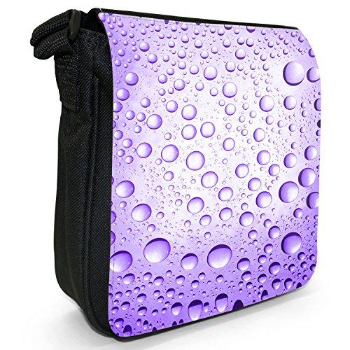 Purple Canvas Size Droplets Shoulder Bag Water Small Black Coloured wgAZ8A