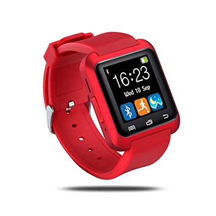 U80 Bluetooth Wrist Smart Watch Phone Mate Handsfree Call for Smartphones Outdoor Sports Pedometer for Android Apple Phones (Red)