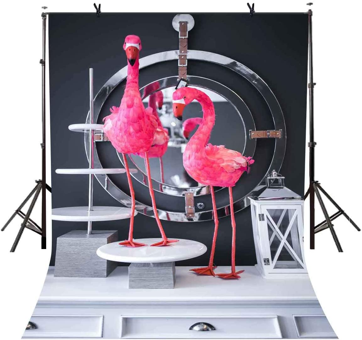 LYLYCTY 5x7ft Flamingo Theme Background Flamingos Stand on White Table Photography Background and Studio Photography Backdrop Props LYGE1011