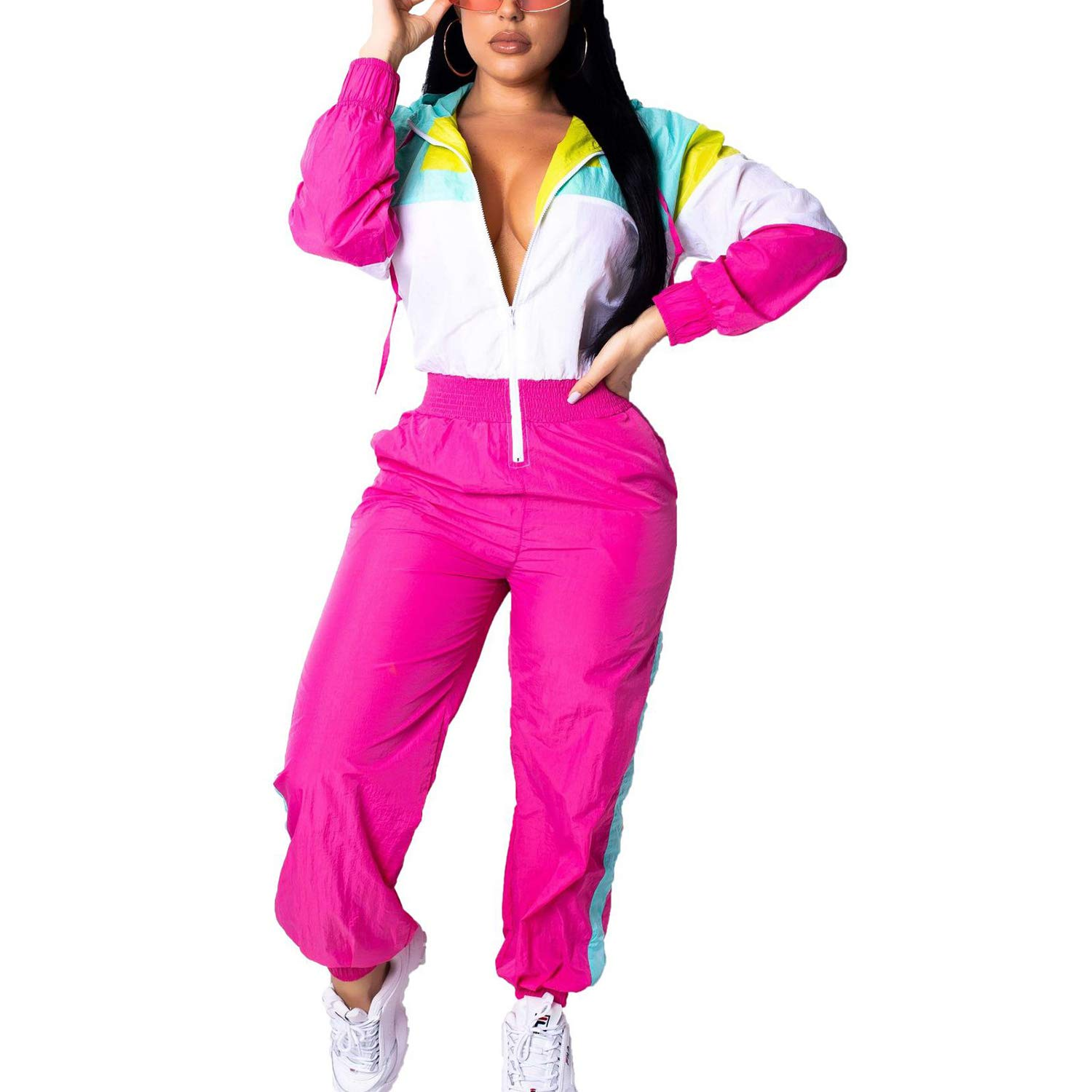 1 Piece Outfits Tracksuits Long Sleeve HoodiesStrip Jumpsuit Sweatsuit White S