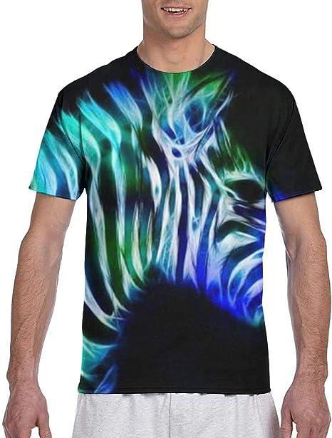 Zhgrong Camisetas de Hombre Coloridas Cebra Fluorescente Azul Camisetas de Manga Corta atléticas para Hombre Camiseta con Cuello Redondo: Amazon.es: Deportes y aire libre