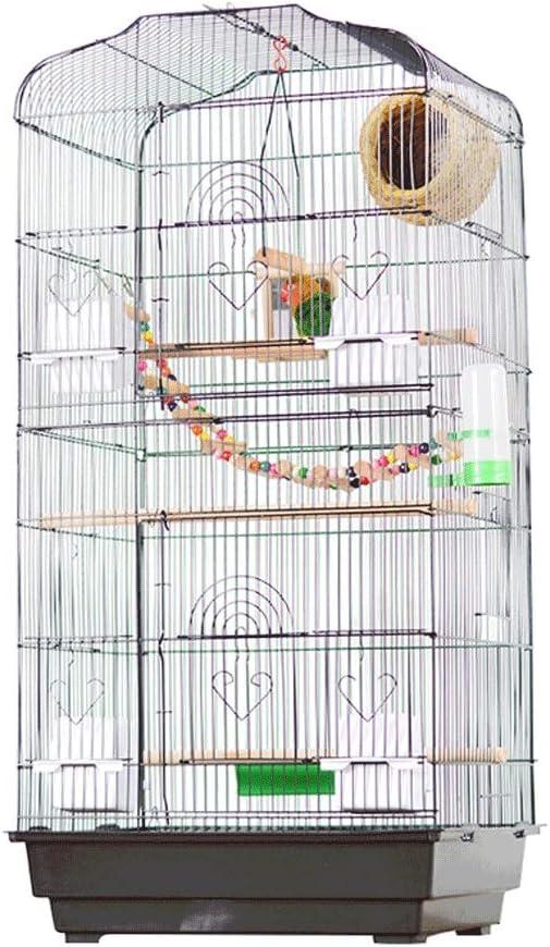 Jaula para Pájaroas pajarera Plegable Metal Hierro forjado Jaula de pájaros Pequeño Loro mediano y grande Pájaro Villa Incremento Cría Construcción de aves Jaula de pájaros ornamentales Suministros de