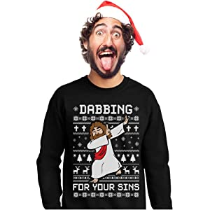 317a4fb4 Tstars - Dabbing Jesus Ugly Christmas Sweater Funny Dab Dance Sweatshirt