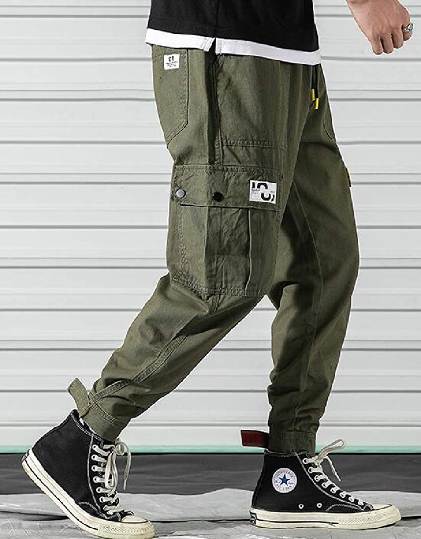 MOUTEN Mens Cotton Casual Washed Multi Pockets Military Loose Fit Cargo Jogger Pants Trousers