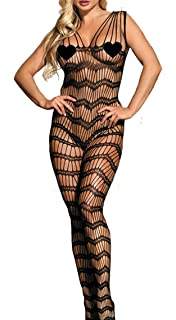 91233d94993 MarysGift Womens Floral Lace Fishnet Crotch Bodystocking Lingerie Body  Stockings Plus…