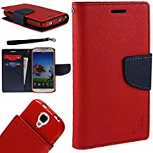 [World Acc] For Alcatel Zip Case PU Leather Flip Cover Folio Book Style Pouch Card Slot Wallet (Red/Navy Blue)