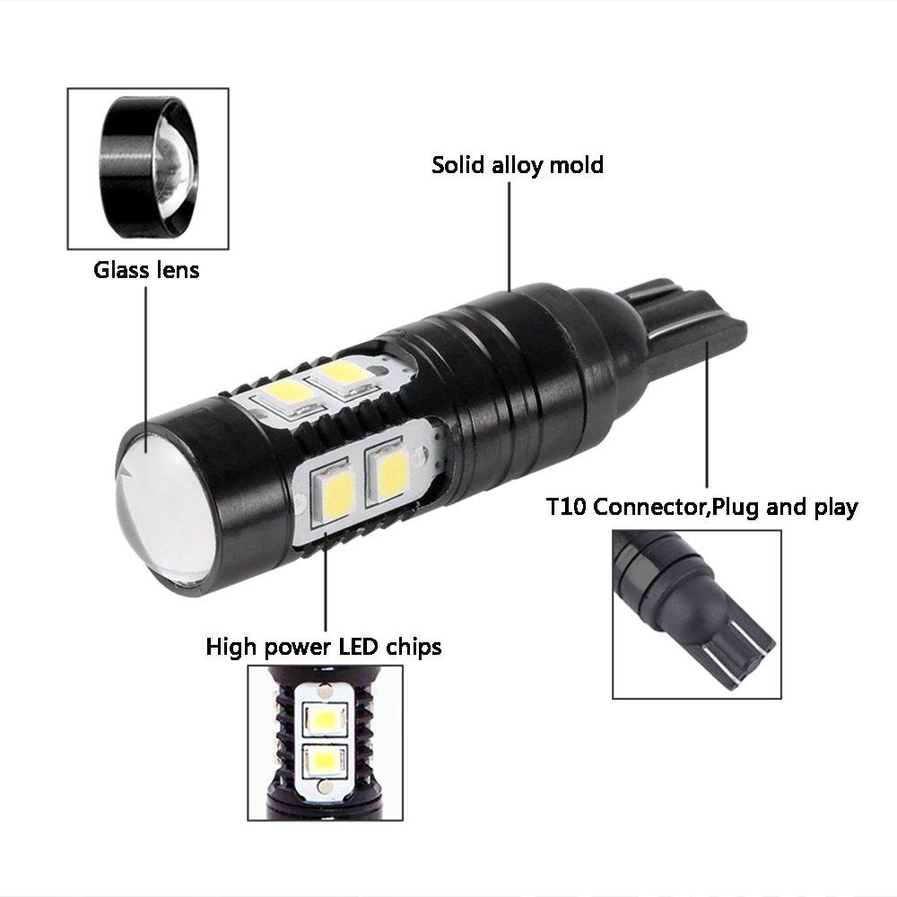 Mesllin LED Turn Lights Signal Lights Ultra Bright 50W T10 Fog Light Bulbs Back Up Reverse Light Cree Parking Lamp