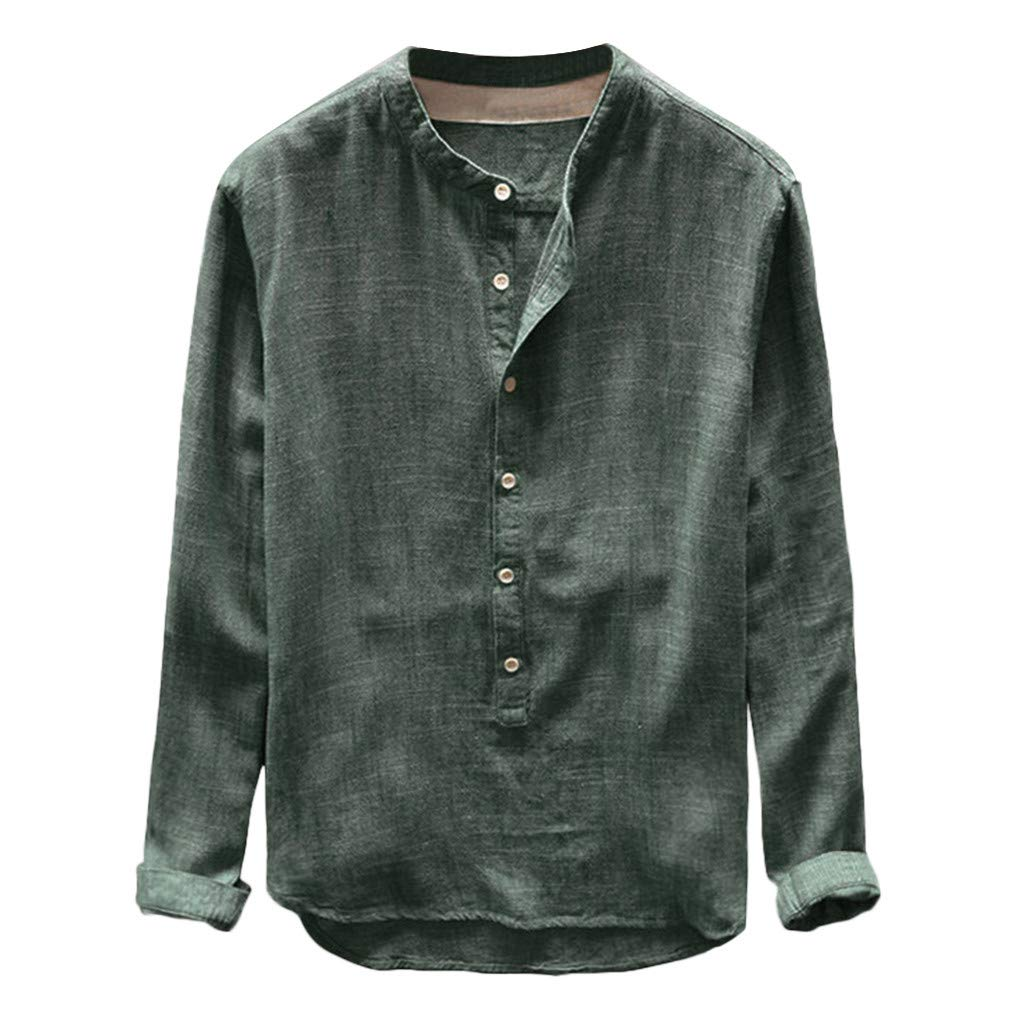 NUWFOR Fashion Mens Autumn Winter Button Casual Linen and Cotton Long Sleeve Top Blouse(Green,L US/L AS Bust:41.3'')