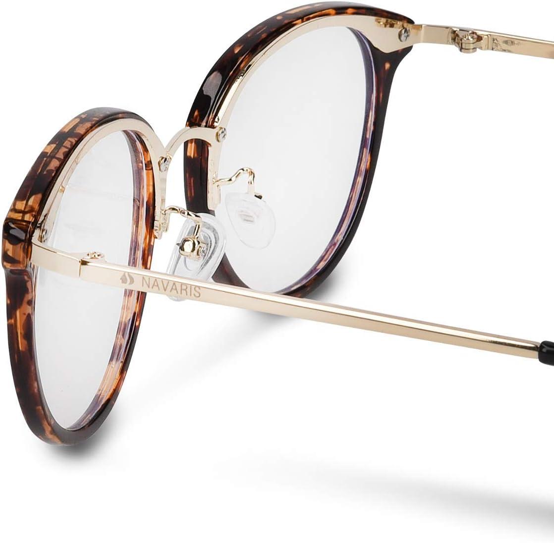 Navaris Retro Brille ohne Sehst/ärke mit Metallb/ügeln Anti Blaulicht Computer Nerdbrille ohne St/ärke Damen Herren Vintage 50er Nerd Brille