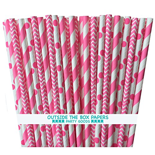 Outside the Box Papers Pink Stripe, Chevron, and Polka Dot Paper Straws 7.75 Inches 75 Pack Pink, White -