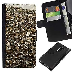 EJOY---La carpeta del tirón la caja de cuero de alta calidad de la PU Caso protector / LG G2 D800 / --Río de Janeiro ciudad Edificios Brasil