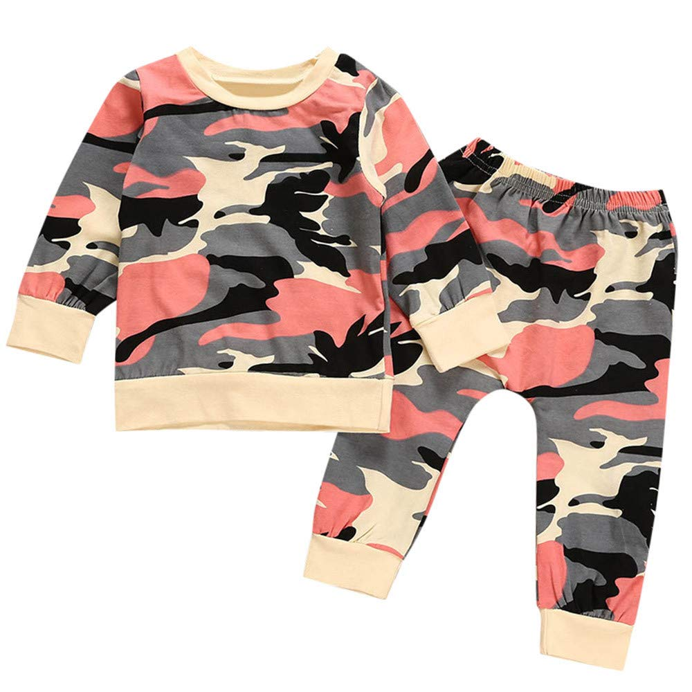 Kids Clothes Set, Zerototens Toddler Kids Baby Girls Boys Long Sleeve Camouflage Print Sweatshirt Tops+ Pants 2Pcs Kids Casual Outfit Set Autumn Winter Tracksuit 0-4 Years Old