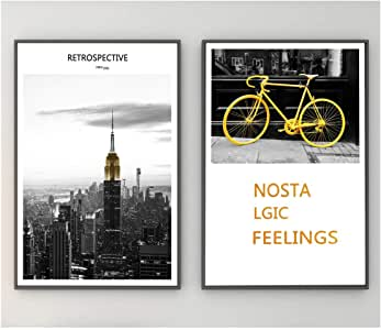 Art wall paintings with black wooden frame - 2 pieces